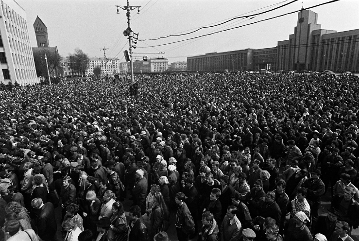 Мітынг працоўных, 1991 год, фота Сяргея Брушко
